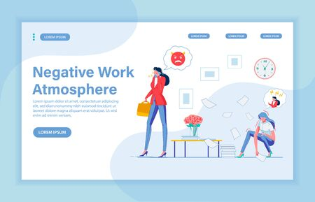 Work Atmosphere Like in Hell. Young Woman Office Worker Picking Documents, Scared to Guts, Imagining Supervisors Reaction to Small Error. Despotic Lady Boss Spoiling Employees Life. Landing Page. Ilustracja