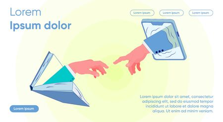 Hands in Suits From Book and From Tablet Stretch. Give Students Knowledge that Determines their Free, Meaningful Choice Life Path. Selection and Creation Information Products, Slide. Illusztráció