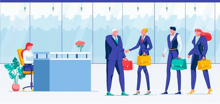 Meeting, Making Deal Flat Vector Illustration. Company Board, Business Partners, Executive Directors Faceless Characters. Partnership, Business Handshake, Greeting, Cooperation, Teamwork Concept Stock Illustratie