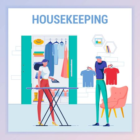 Housekeeping, Man Hesitating what to Wear, Woman Waiting to Iron Clothing for Husband. Wife Wanting to Help Person. Wardrobe. Choosing Tshirt Color for Outfit Flat Cartoon Vector Illustration. Illustration