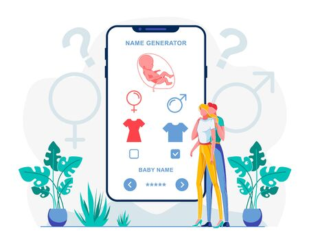 Baby Name Generator Mobile App Flat Illustration. Trendy Smartphone Application Suggesting Male and Female Names. Future Parents, Couple Choosing Given Name for Son Cartoon Characters