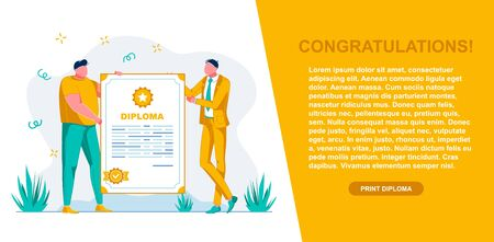 Banner Congratulation and Diploma, Landing Page. Men are Holding Large Document with Inscription Diploma. Guy in Suit Congratulates and Presents Diploma to Full Student. Vector Illustration.