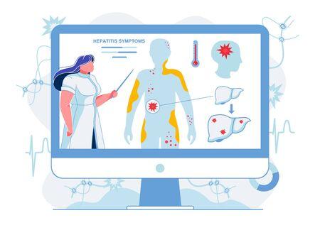 Doctor Explaining Hepatitis Symptoms Illustration. Medical Worker Explaining Skin Irritations, Fever and Brain Damage Caused by Liver Illness. Lecturer Showing Cirrhosis Symptoms in Internet Webinar