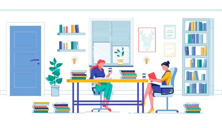 Coursemate Sitting by Desk Full Book with Coffee, Doing College Homework Together. Red-Haired Student and Her Friend, Brunette Wearing Jeans, Working Hard to Get Ready for Final Examination. Ilustração