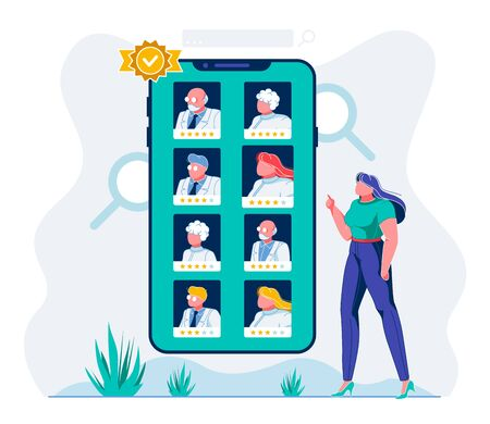 Mobile E Health App Doctor Assessment Illustration. Hospital Staff Online Evaluation System. Female User Choosing Best Medical Workers Cartoon Character. Womar Comparing Medics Ranking Vettoriali
