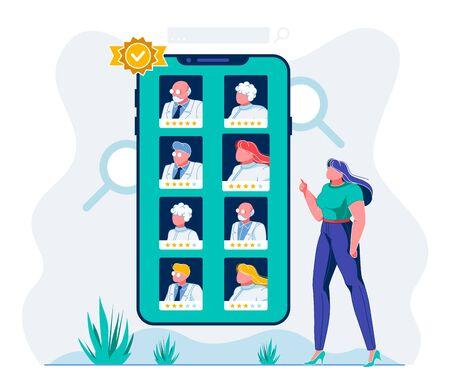 Illustration d'évaluation de médecin d'application de santé mobile E. Système d'évaluation en ligne du personnel hospitalier. Utilisateur féminin choisissant le meilleur personnage de dessin animé de travailleurs médicaux. Womar comparant le classement des médecins Vecteurs