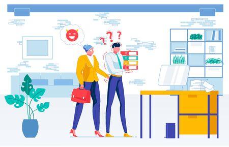 Harassment in Workplace. Woman Boss Seducing Man Illustration