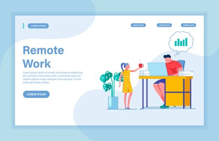 Remote Work as Way to Earn Money. Caring Daughter Bringing Hot Cup to Her Daddy, Making Money Remotely. Young Brunet Working in Home Office. Landing Page with Copy Space for Extra Text.