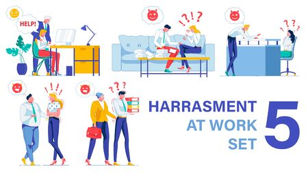 Workplace Harassment Types. Five Pieces Vector Set. Senior Boss Extorting Sex from Employee. Men Bulling Women Colleagues, Making Inappropriate Comments and Jokes. Chiefs Harassing Subordinates.