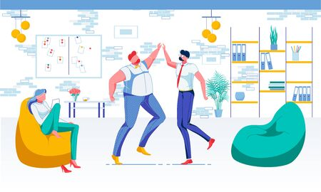 Office Entertainment Flat Vector Illustration. Jumping Colleagues and Manager Sitting in Armchair Faceless Characters. Dinner Hour, Time Relax, Rest Corner, Lounge Zone, Office Fun Concept