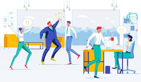 Successful Friendly Team Flat Vector Illustration. Amiable Company Staff, United Office Workers Faceless Characters. Friendly Working Atmosphere, Agreeable Colleagues, Pleasant Job Concept