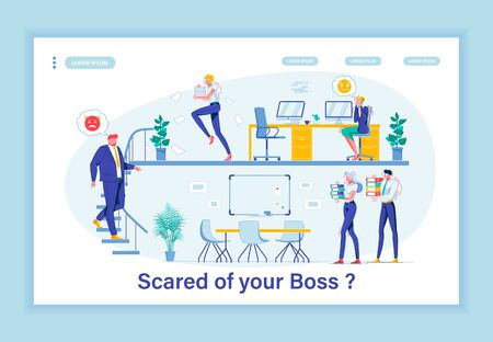 Terror in Workplace. Whole Company Shaking in Its Boots Because Hysterical Chief. Despotic Boss Making Office Life Unbearable. Employees Searching for Place to Hide from Tyrant. Landing Page Template.