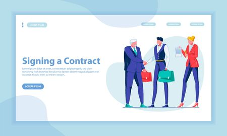 Contract Signing Landing Page Vector Template. Making Deal, Partnership, Cooperation. Business Partners, Handshaking Entrepreneurs Faceless Characters. Successful Negotiation Homepage Layout