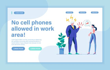 Enraged Boss Yelling at Woman Employee Seizing Spare Moment to Discuss New Red Shoes with Friend on Phone. Senior Gentlemen Chief Forbidding Phones in Work Area, Used to Doing Business as Old. Illustration