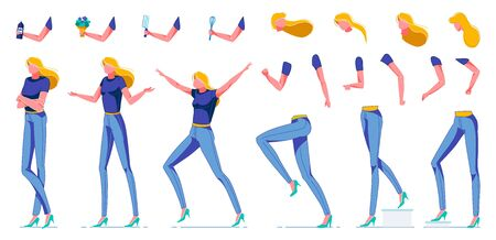 Blonde Woman Constructor Flat Cartoon Vector Illustration. Girl with Long Hair Jumping from Happiness, Running, Walking. Legs, Arms, Head Body Parts in Movement. Accessories in Hands. Illustration