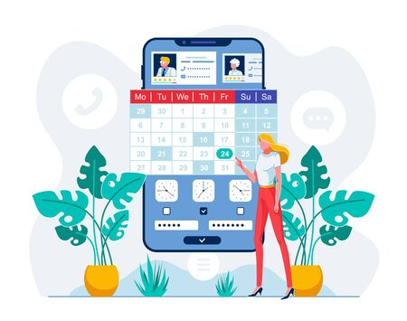 Telehealth Mobile App User Vector Illustration. Young Woman Choosing Doctor and Appointment Date via Smartphone App. Trendy E Health Technology Services. Scheduling Meeting with Medical Worker Vetores