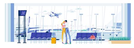 Meeting Lovers or Parting in Airport Terminal Hall. Cartoon People Characters go on Trip. Airport Building Interior with Landing and Departing Airplanes Background. Flat cartoon vector illustration.