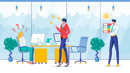 Work Error, Boss Reaction Flat Vector Illustration. Dissatisfied Chief and Confused Office Workers Faceless Characters. Work Mistake, Executive Directions, Task Execution Inability concept Ilustração