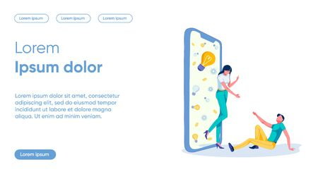 Partner Offer Flat Landing Page Vector Template. Start Up, Teamwork, Cooperation, Mutual Assistance, Idea Sharing. Business Partners Faceless Characters. Mobile App Development Homepage Layout