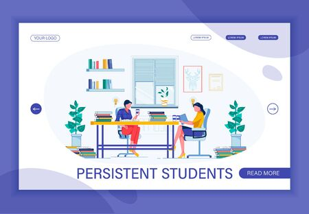Perseverance as Necessary Trait Which Is Possessed by Successful Student. Persistent Brunette and Her Coursemate Studying Together with Coffee to Stay Awake. Flat Vector Landing Page Template.
