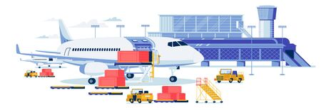 Freight Aircrafting and Cargo Transportation Background. Airport Terminal Building with Loaders Trucks Loading Bulky Goods Containers in Airplane Cargo Hold. Flat Cartoon Vector Illustration.