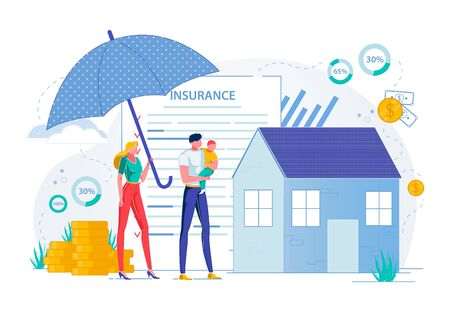 Property Insurance and Real Estate Safety and Protection. Family with Child, People Cartoon Characters on House Protected with Giant Umbrella and Assurance Policy Background. Flat Vector Illustration.