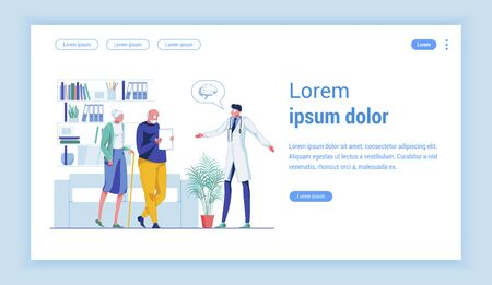 Stroke Prevention Campaign. Doctor in White Doctors Smock, Explaining Brain Issues to His Senior Patients, Woman and Man in High Risk Group. Vector Landing Page with Copy Space for Extra Text.