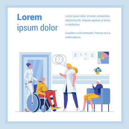 Geriatric Medicine Clinic. Senior Patients in Elderly Care Center. Nurse and Doctor, Taking Care People, Who Have Complex Conditions Associated with Aging. Banner with Copy Space for Extra Text.