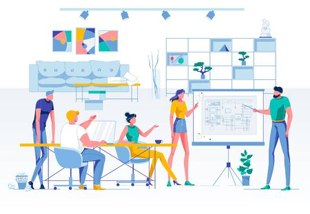 Business Conference or Briefing. Teamwork and Brainstorming Process. Team Meeting for Office Interior Discussion. Shared Coworking Space Optimization. Requests and Suggestions. Vector Illustration