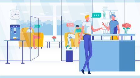 Customer in Company or Corporation Reception Lobby with People, Employee and Visitor Characters. Man Receptionist Meeting and Welcoming Client in Interior with Furniture. Flat Vector Illustration.