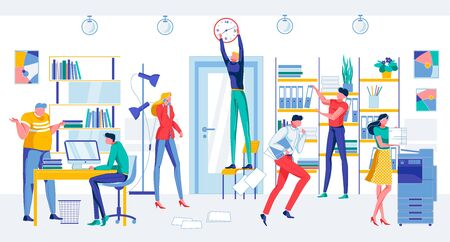 Deadline Problem. Worried Cartoon People in Office Room Vector Illustration. Man Stop Clock. Employee Run with Papers. Workplace Chaos Alarm. Office Workers Hurry. Management Failure