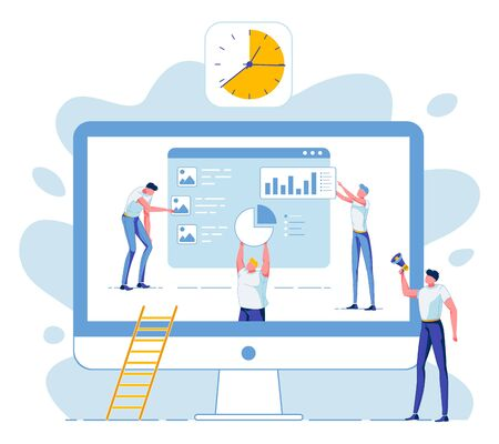 Business Team on Huge Computer Monitor Collect Statistical Data, Analyze Project Results. Leader Boss Chief Control Process Shout in Megaphone. Rush, Deadline. Digital Marketing. Vector Illustration