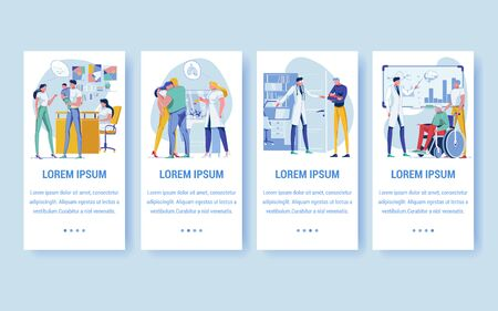 Pregnancy Period, Family Getting to Know about Baby Flat Cartoon Vector Illustration. Doctor Telling about Lungs Problems Banner. Fatther Holding Newborn Child on Hands. Old Man on Wheelchair.