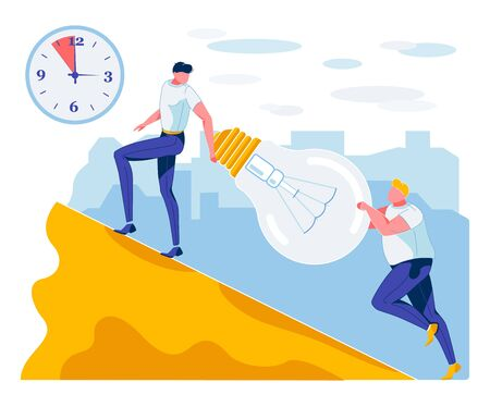 Cartoon Coworkers Climbing up Hill with Metaphor Idea Light Bulb. Clock with Lack of Time. Schedule Task. Deadline. Project Term Flow out. Business Productivity Efficiency. Vector Flat Illustration