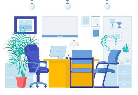 Office Flat Interior in Business Company Center. Well Equipped Coworking Shared Space for Two Corporate Executive Managers. Cabinet for Banking Workers and Clients. Vector Cartoon Illustration 向量圖像