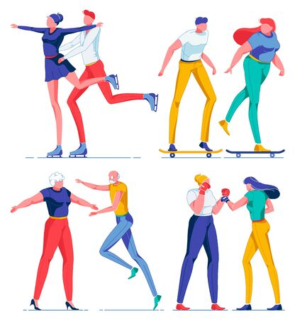 People Spending Leisure, Hobby Flat Cartoon Vector Illustration. Couple Doing Figure Skating on Ice, Girl and Boy Skating Together, Old Man and Woman Hugging, Young Female Characters Boxing in Gloves.