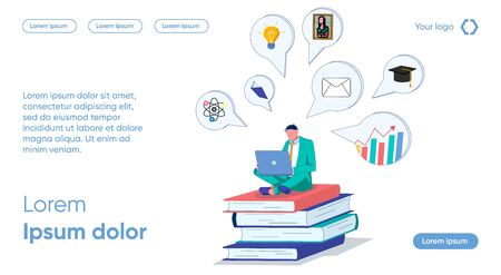 Man with Laptop Sits on Books and Studies Topics. Information is Spontaneously Remembered. Identify Key Issues. Change Motivation for Learning. Training allows Individual to Build his Knowledge. Çizim