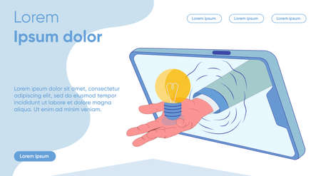 Male Hand Holds out Luminous Bulb from Tablet. Creation Controlling Product. Studying Rating on Subject. Formation Personal Interest, Determination Purpose Training. Vector Illustration.