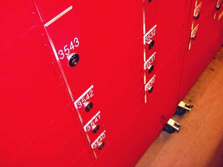 Postbox rack Stock Photo