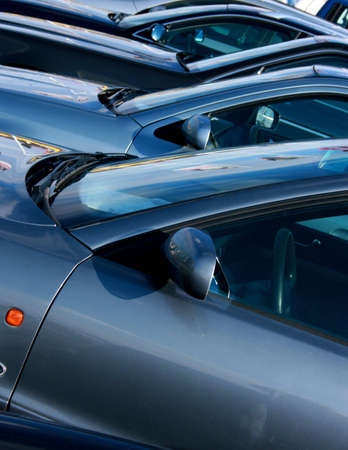 A row of brand new cars on display Stock Photo - 2678967