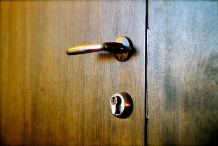 clandestine: closed wooden door Stock Photo