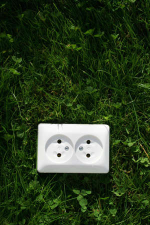 generates: An electrical cord connected to an electrical socket that generates power from green grass or other relevant natural sources of energy Stock Photo