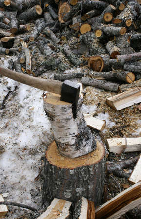 Chopping wood in the winter Stock Photo