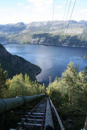 Worlds longest wooden staircase in Flørli, by the Lysefjord in southern Norway