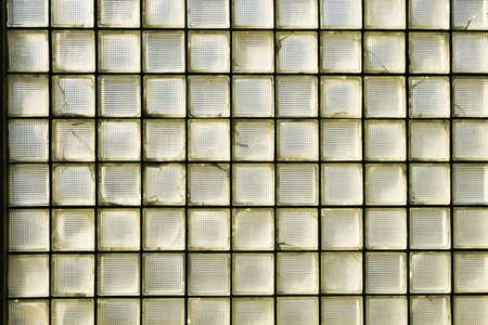 An industrial wall of glass bricks