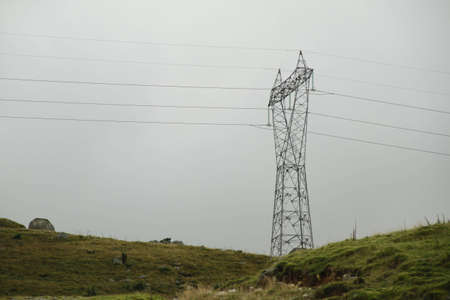 A large power pylon in the wild nature