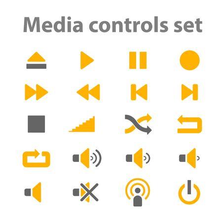 player controls: Media controls icons set for web