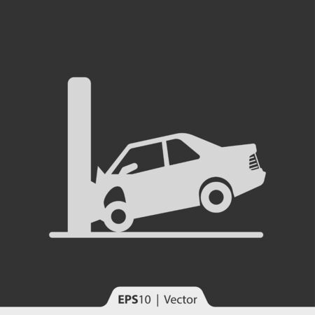 smashing: Car crash with wall vector icon for web Illustration