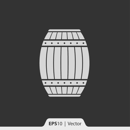 barrell: Wood barrel vector icon for web and print