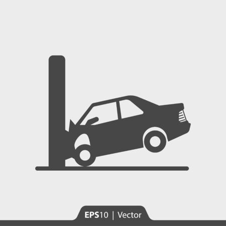 Car crash with wall vector icon for web Illustration